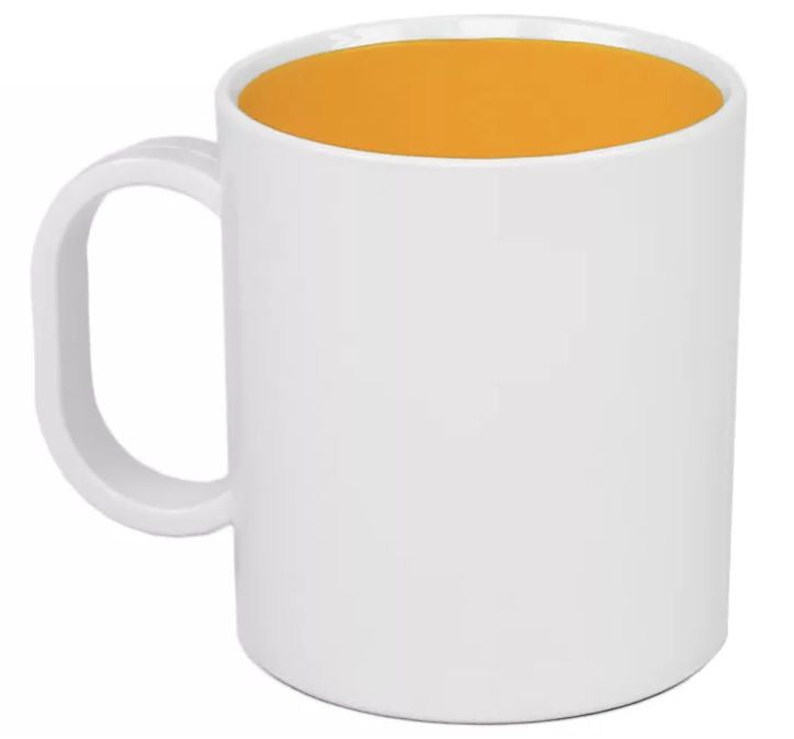 Caneca Plástica Sublimática Interior Amarelo (Polímero) Classe AAA 325 mL  - ALFANETI COMERCIO DE MIDIAS E SUBLIMAÇÃO LTDA-ME