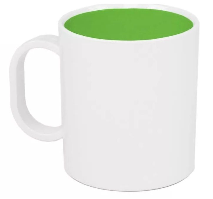 Caneca Plástica Sublimática Interior Verde (Polímero) Classe AAA 325 mL  - ALFANETI COMERCIO DE MIDIAS E SUBLIMAÇÃO LTDA-ME