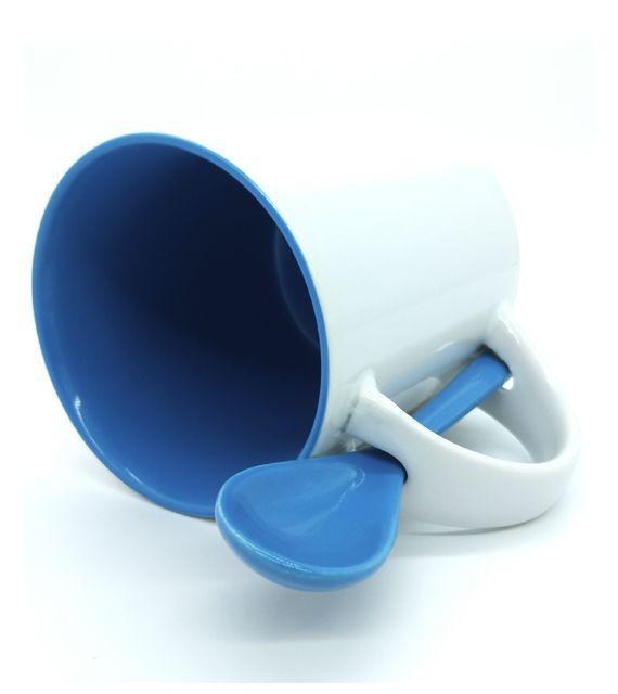 Caneca Reta para Sublimação de Cerâmica Branca com Interior e Colher - Azul - Classe A  - ALFANETI COMERCIO DE MIDIAS E SUBLIMAÇÃO LTDA-ME