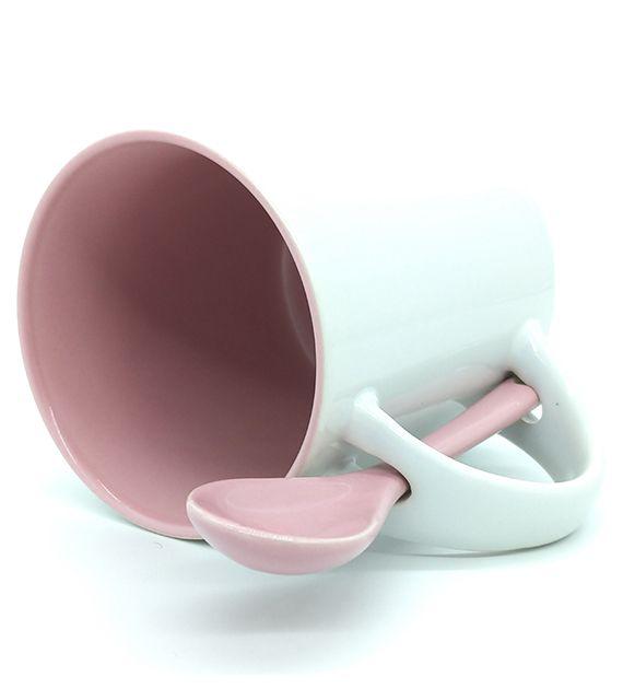 Caneca Reta para Sublimação de Cerâmica Branca com Interior e Colher - Rosa - Classe A  - ALFANETI COMERCIO DE MIDIAS E SUBLIMAÇÃO LTDA-ME