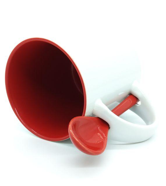 Caneca Reta para Sublimação de Cerâmica Branca com Interior e Colher - Vermelho - Classe A  - ALFANETI COMERCIO DE MIDIAS E SUBLIMAÇÃO LTDA-ME