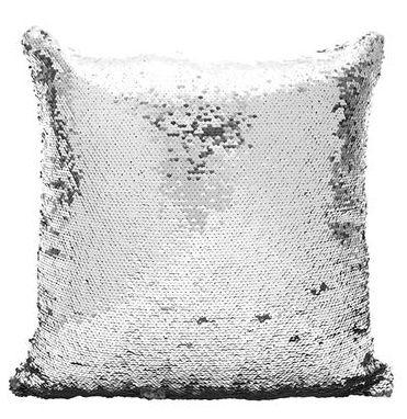 Capa de Almofada com lantejoulas Sublimática  prata/branco 40x40 (Mágica muda de cor)  - ALFANETI COMERCIO DE MIDIAS E SUBLIMAÇÃO LTDA-ME