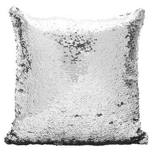 Capa de Almofada com lantejoulas Sublimática Prata e Branco 40x40cm  - ALFANETI COMERCIO DE MIDIAS E SUBLIMAÇÃO LTDA-ME