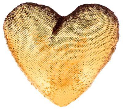 Capa de Almofada coração com lantejoulas Sublimática dourado/branco 39x44 (Mágica muda de cor)  - ALFANETI COMERCIO DE MIDIAS E SUBLIMAÇÃO LTDA-ME
