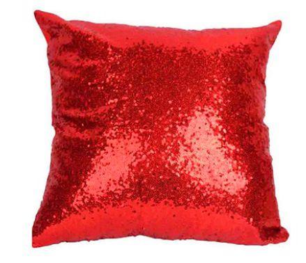 Capa de Almofada com lantejoulas Sublimática vermelho/prata 40x40 (Mágica muda de cor)  - ALFANETI COMERCIO DE MIDIAS E SUBLIMAÇÃO LTDA-ME