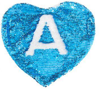 Capa de Almofada coração com lantejoulas Sublimática azul/branco 39x44 (Mágica muda de cor)  - ALFANETI COMERCIO DE MIDIAS E SUBLIMAÇÃO LTDA-ME
