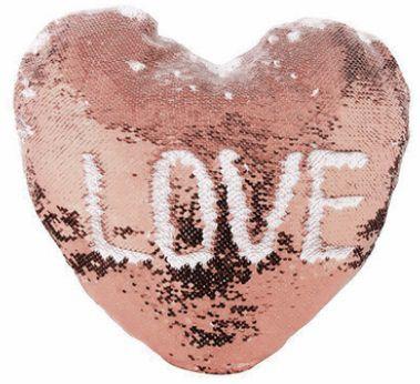 Capa de Almofada coração com lantejoulas Sublimática champanhe/branco 39x44 (Mágica muda de cor)  - ALFANETI COMERCIO DE MIDIAS E SUBLIMAÇÃO LTDA-ME