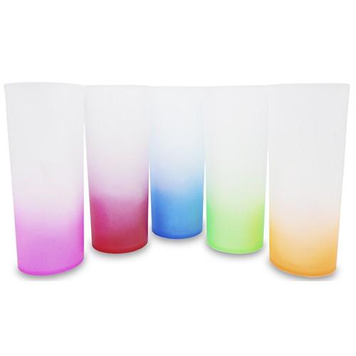 Copo Long Drink Acrílico Fosco Com Degradê Colorido - 350ml  - ALFANETI COMERCIO DE MIDIAS E SUBLIMAÇÃO LTDA-ME