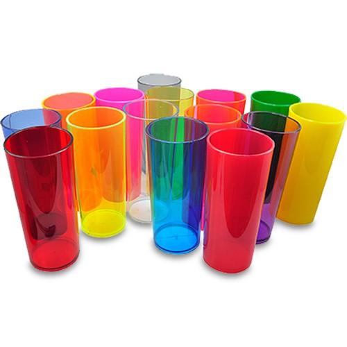 Copo Long Drink em Acrílico Colorido Leitoso ou Translúcido - 350ml  - ALFANETI COMERCIO DE MIDIAS E SUBLIMAÇÃO LTDA-ME
