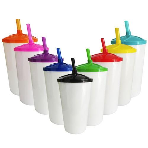Copo Twister em Acrílico Branco Sólido Tampa e Canudo Colorido - 500ml  - ALFANETI COMERCIO DE MIDIAS E SUBLIMAÇÃO LTDA-ME