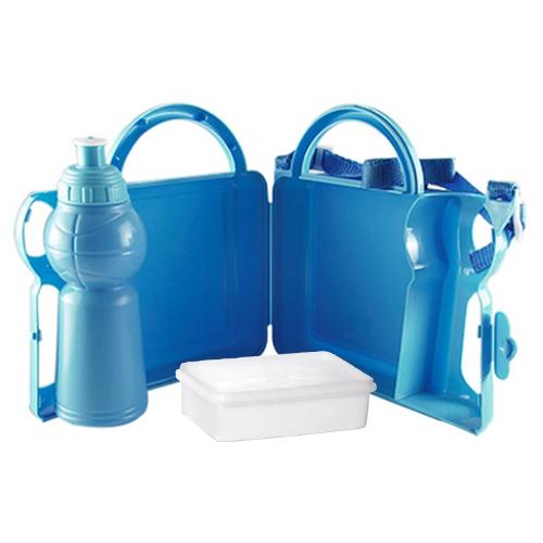 Lancheira Infantil de Plástico para Sublimação com Squeeze e Sanduicheira  - Azul  - ALFANETI COMERCIO DE MIDIAS E SUBLIMAÇÃO LTDA-ME