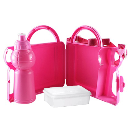 Lancheira Infantil de Plástico para Sublimação com Squeeze e Sanduicheira - Rosa  - ALFANETI COMERCIO DE MIDIAS E SUBLIMAÇÃO LTDA-ME