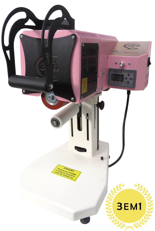 KIT Prensa Térmica Transfer Giro 360º 100MM 3 em 1  (Série Rosa)  - ALFANETI COMERCIO DE MIDIAS E SUBLIMAÇÃO LTDA-ME