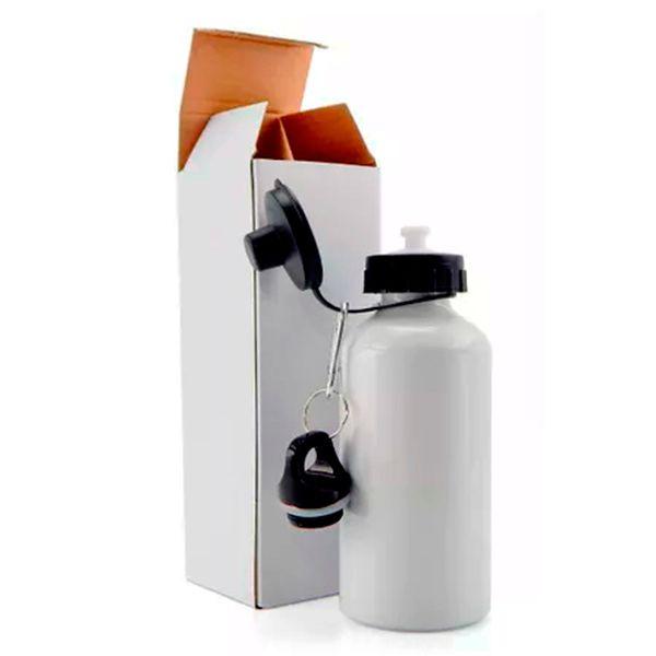 Squeeze de Alúminio Branco Resinado Para Sublimação 600ml (Duas Tampas)  - ALFANETI COMERCIO DE MIDIAS E SUBLIMAÇÃO LTDA-ME