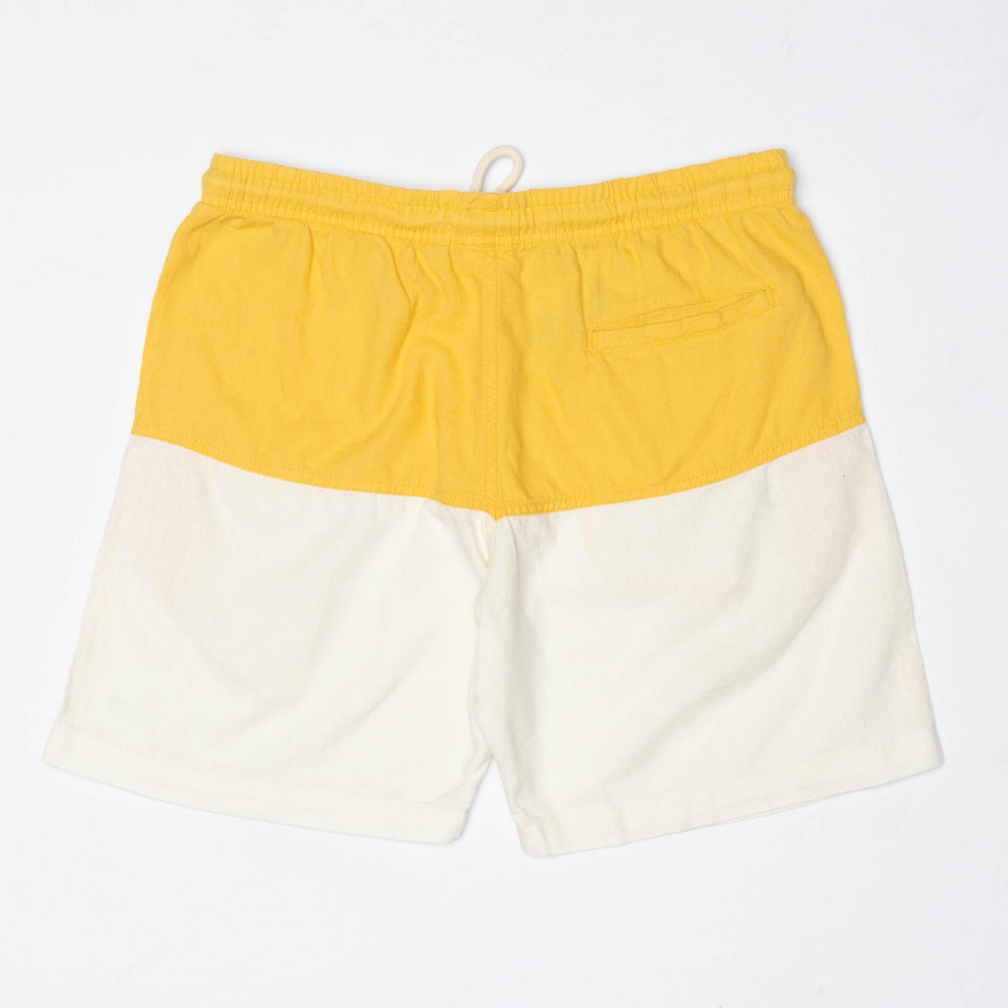 Short Linho Bicolor Amarelo & OffWhite