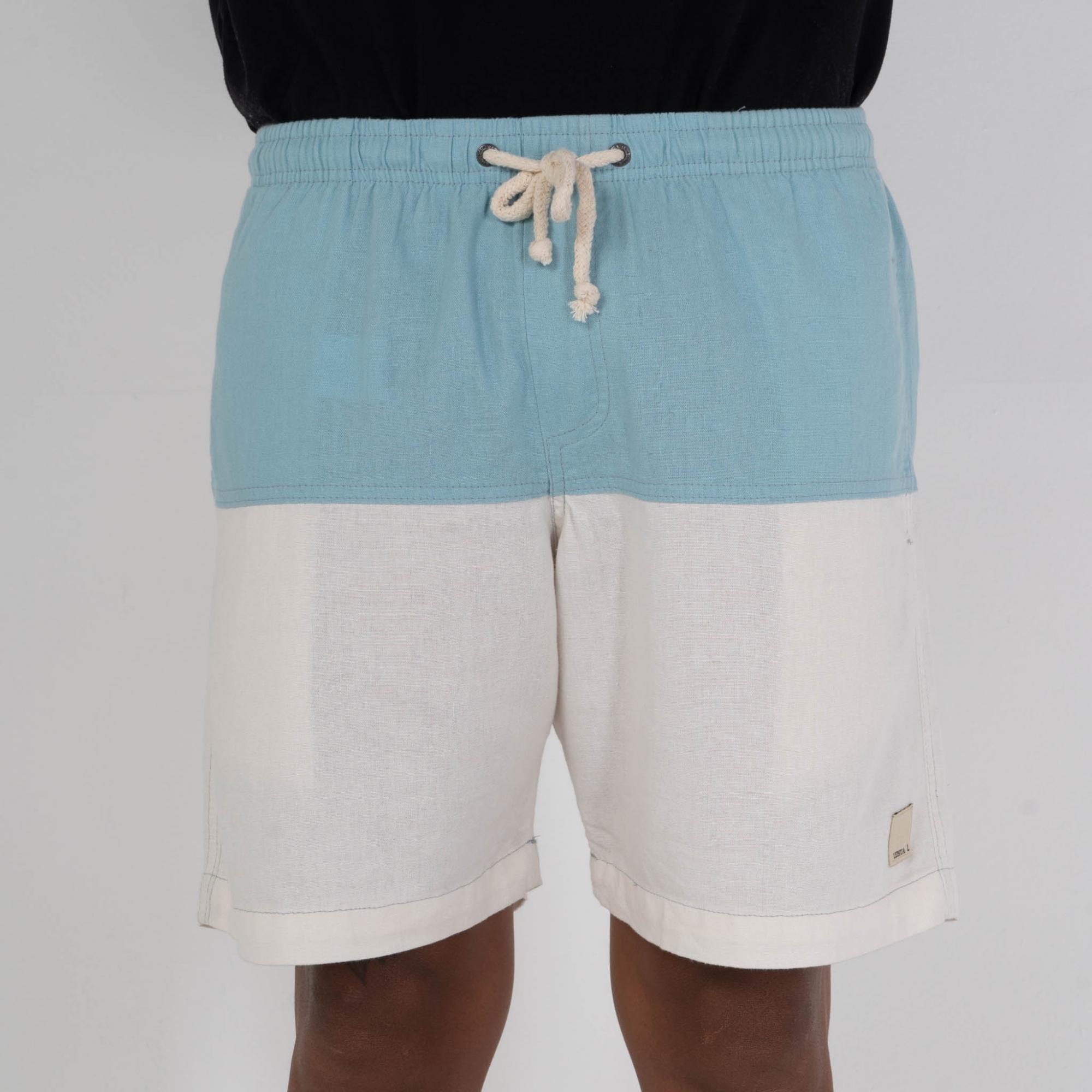 Short Linho Bicolor Azul & OffWhite