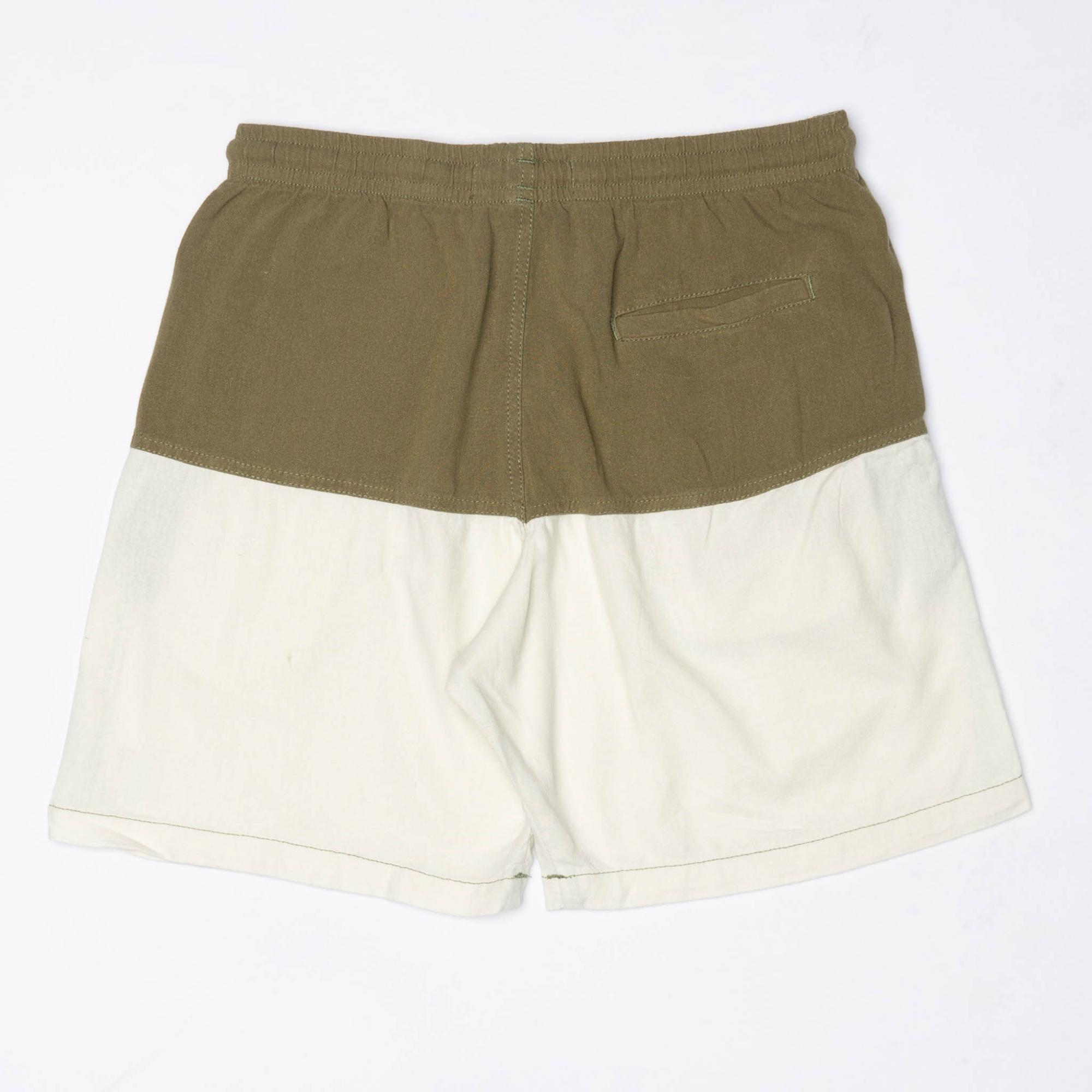 Short Linho Bicolor Verde & OffWhite