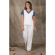 Pijama Manga Curta Bicolor