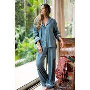 Pijama Manga Longa Bicolor com Botões