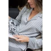 Pijama Manga Longa Botões Mescla