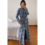 Robe Longo Xadrez Flanela Azul