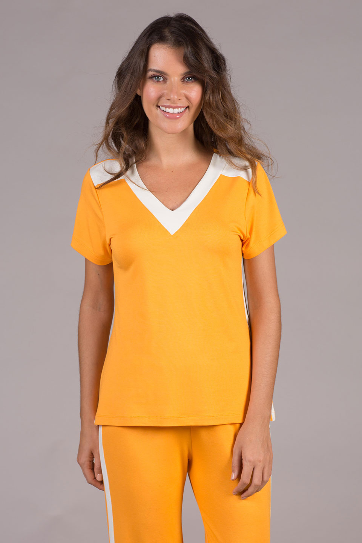 Pijama de Malha Verão Laranja