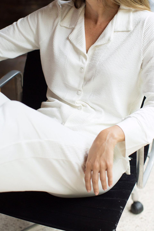 Pijama Manga Longa Off-White