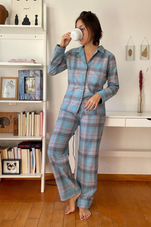 Pijama Xadrez Flanela Azul