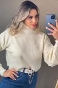 Blusa cropped tricot gola alta