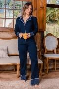 Pijama calça e blusa comprida em viscolycra recortes poá