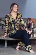 Pijama kimono transpassado estampa camuflado animal print