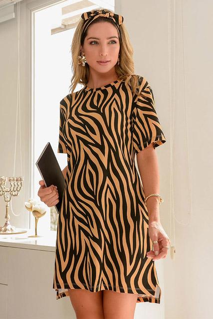 Camisola animal print manga curta com faixa para cabelo