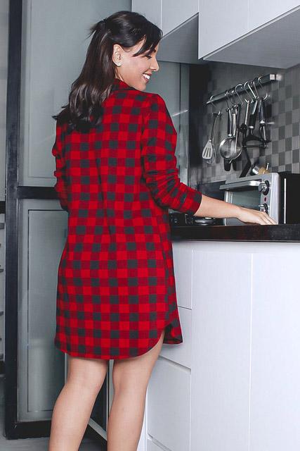 Camisola chemise em viscolycra xadrez