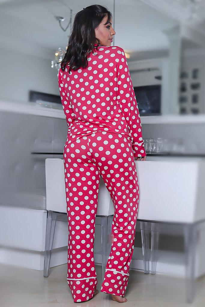 Pijama viscolycra calça e blusa manga comprida max poá