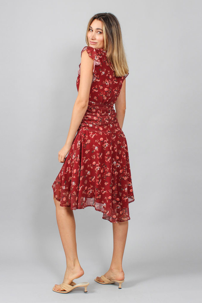 Vestido crepe floral transpassado