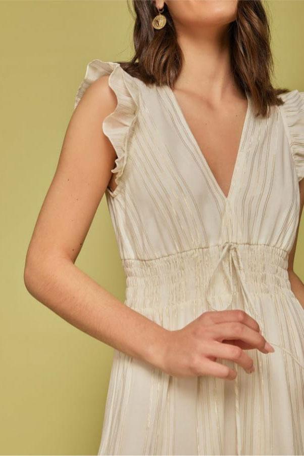 Vestido decote V lastex cintura e fios de lurex