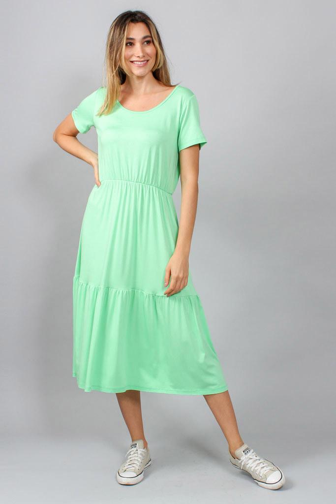 Vestido malha três Marias decote redondo