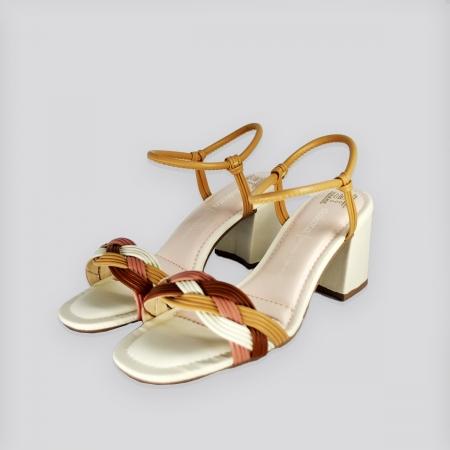 Sandália  Dakota Koza Salto Baixo -  Tira Bege Claro/Mascavo