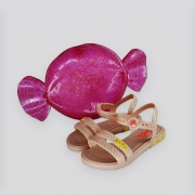 Sandália Infantil Grendene Barbie Candy Bag  Rosa Claro