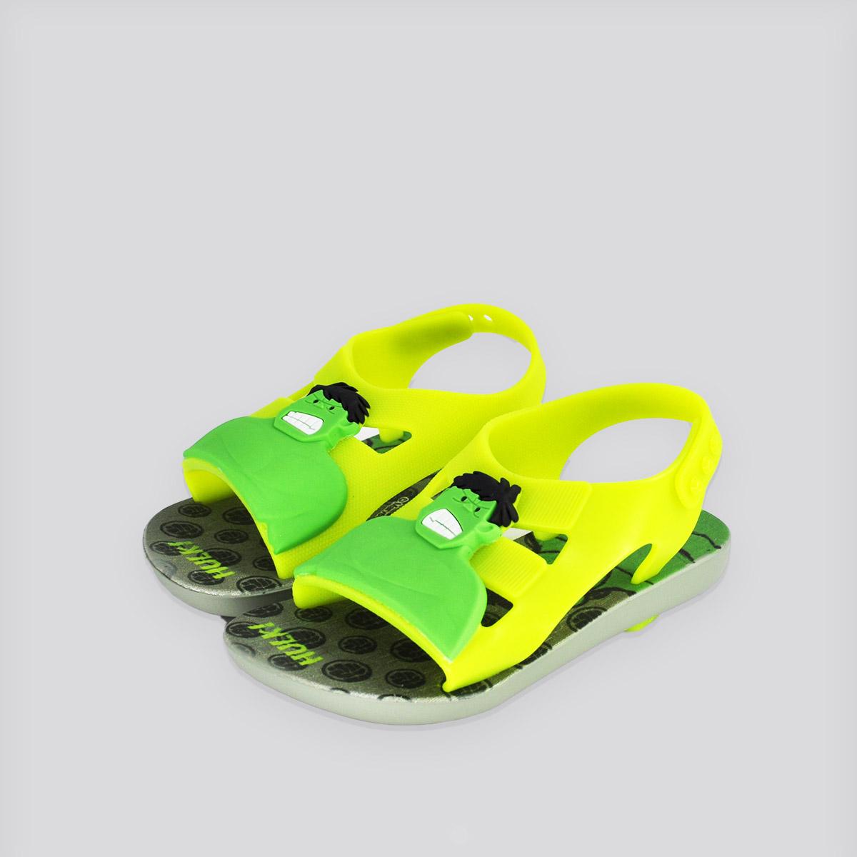 Chinelo Infantil Grendene Hero Marvel Baby Verde/Amarelo