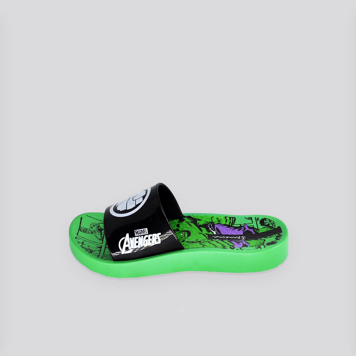 Chinelo Infantil Grendene Marvel Slide Verde/Preto