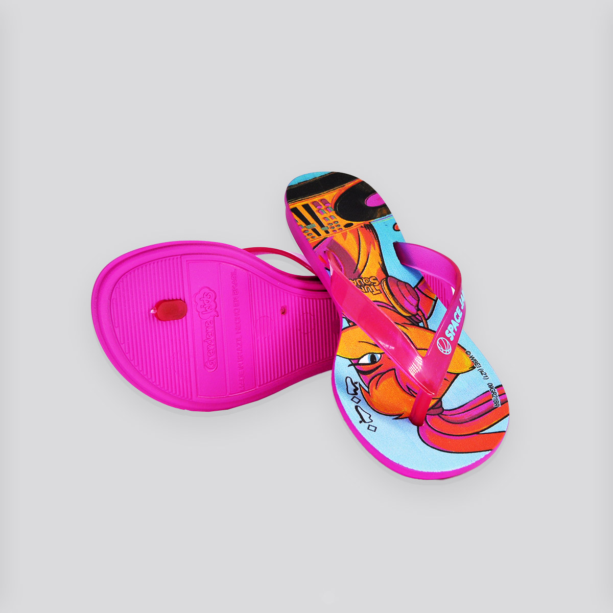 Chinelo Infantil Grendene Space Jam II Pop Rosa/Azul/Amarelo