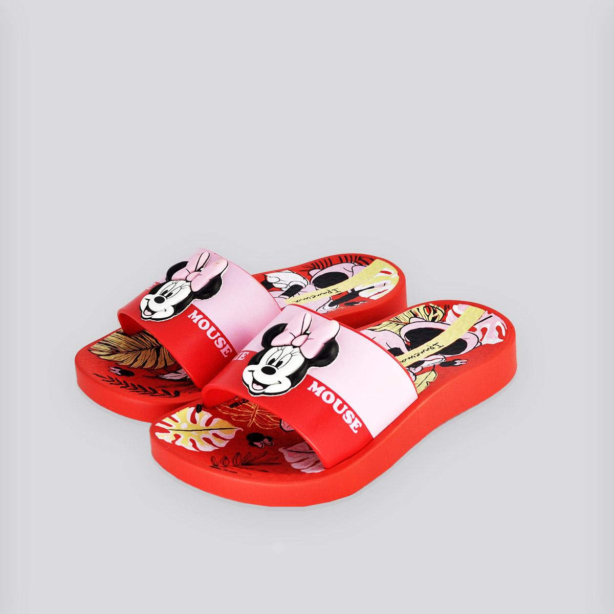 Chinelo Infantil Ipanema Disney Slide Vermelha/Rosa Minnie