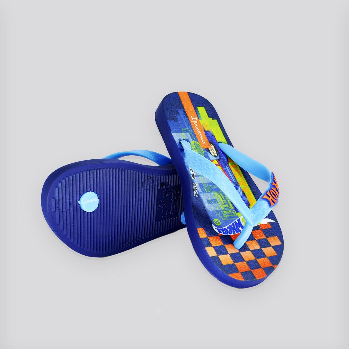 Chinelo Infantil Ipanema Hot Wheels Tyre Azul/Laranja