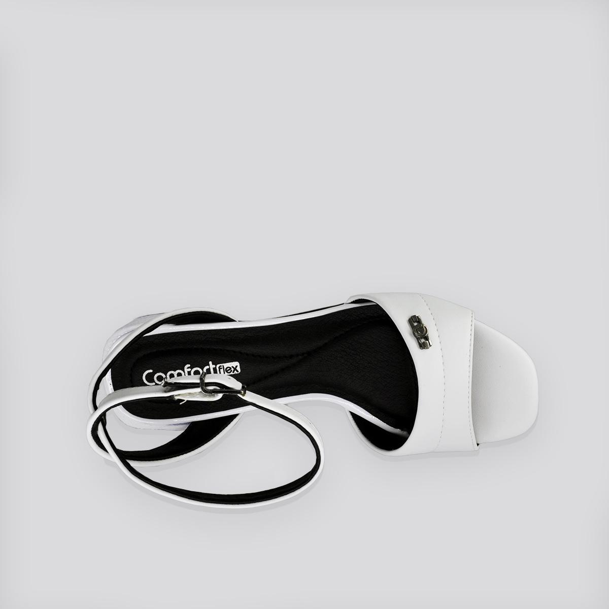 Sandália  ConfortFlex  Vime Verniz Baixa Branca