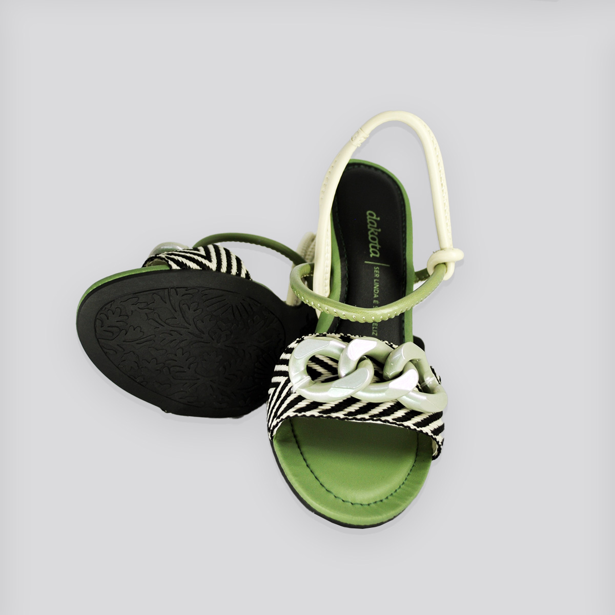 Sandália Dakota Koza Tira Preto/Arenito/Verde
