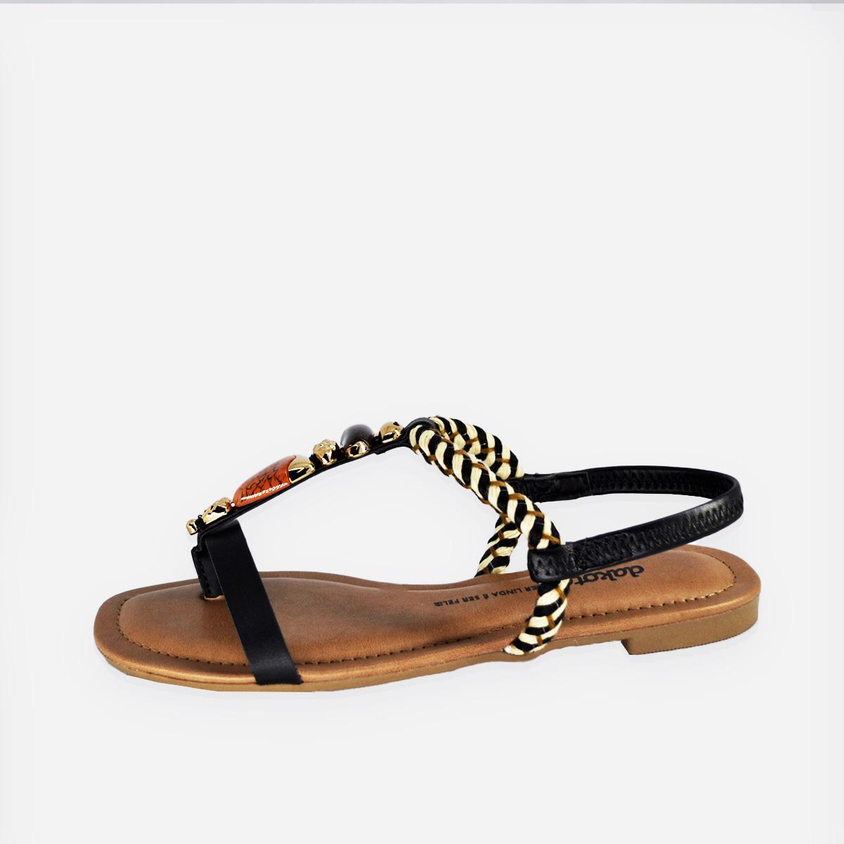 Sandália  Dakota Rasteira  Manila Tira Preto/Marfim