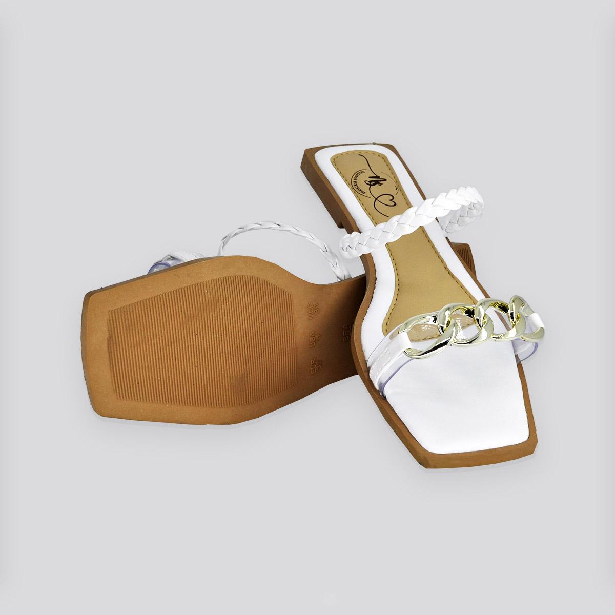 Sandália Rasteira Nati Shoes Branco Napa