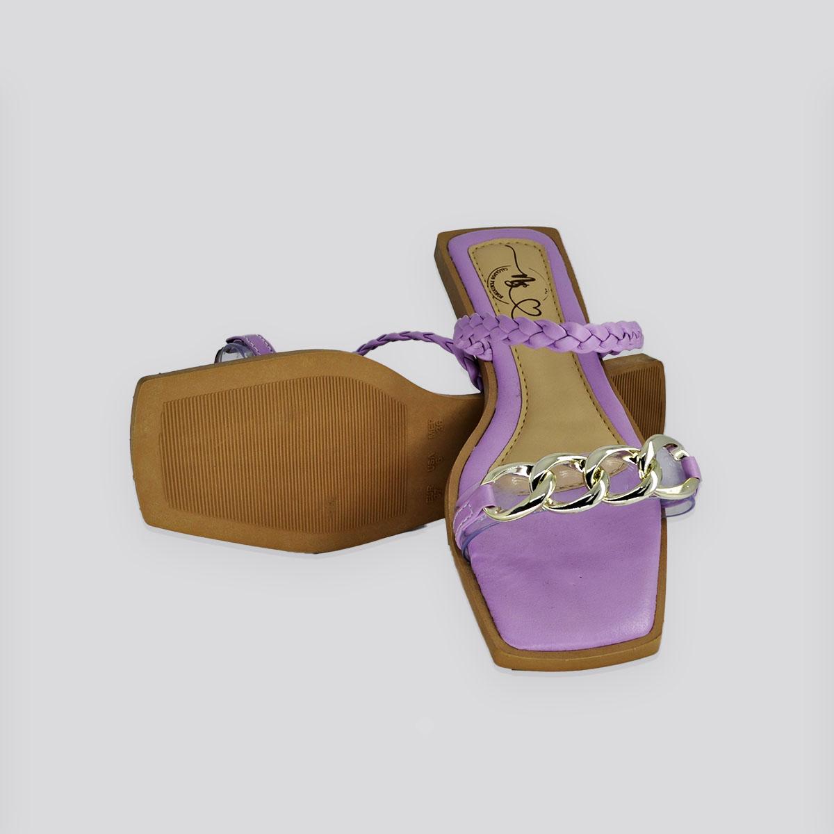 Sandália Rasteira Nati Shoes Hortência Napa (Lilás )
