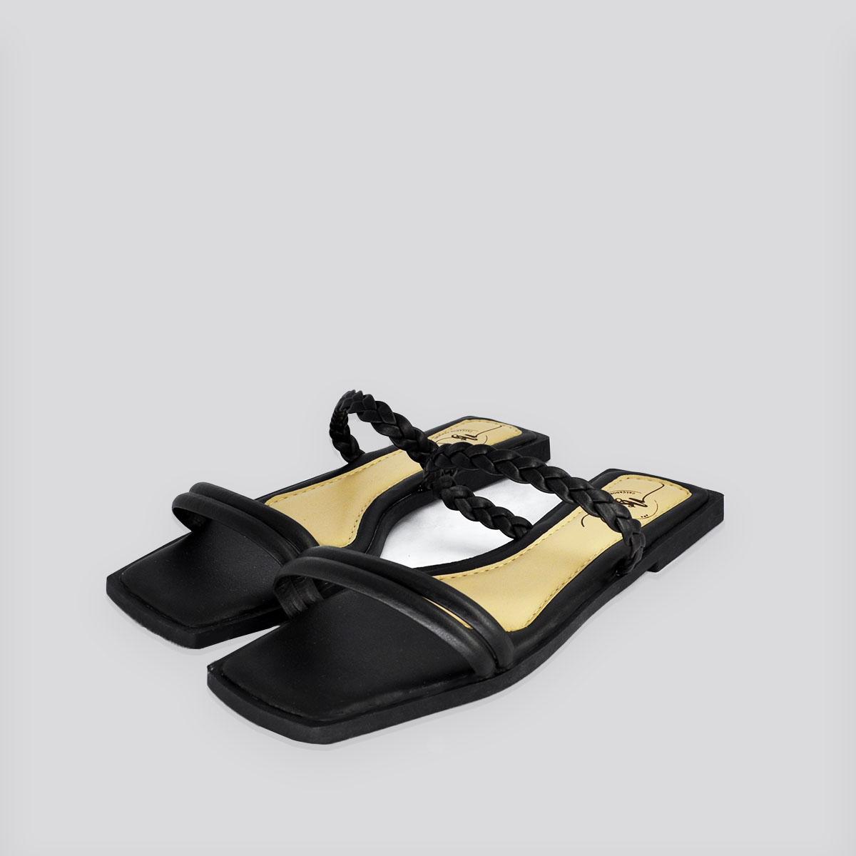 Sandália Rasteira Nati Shoes Preto Napa